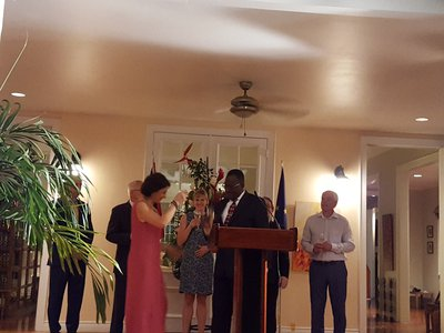 Acting Minister of Foreign and CARICOM Affairs, Major General (Ret'd) Edmund Dillon toasts Ms. Daniela Tramacere, Chargé d' Affaires of the Delegation of the EU to the Republic of Trinidad and Tobago