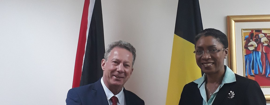 His Excellency Guy Sevrin, Ambassador Extraordinary & Plenipotentiary of the Kingdom of Belgium to the Republic of Trinidad and Tobago, with residence in Kingston, Jamaica bids Farewell Ms. Reita Toussaint, Acting Permanent Secretary, Ministry of Foreig