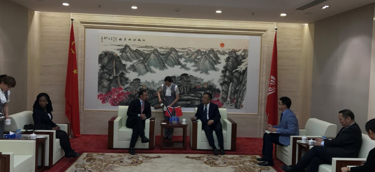 The Honourable Stuart Young, Minister in the Office of the Prime Minister and Minister in the Ministry of the Attorney General and Legal Affairs, meets with stakeholders during visit to China, May 13-19, 2017