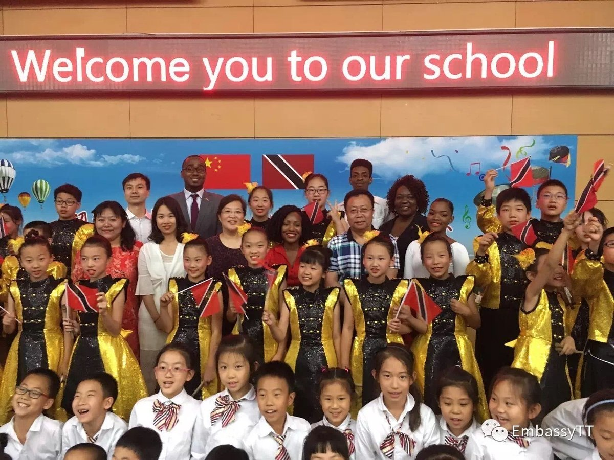 Students at the Ritan School in Beijing at commemorative event for the arrival of new steelpans from Trinidad and Tobago, June 09, 2017