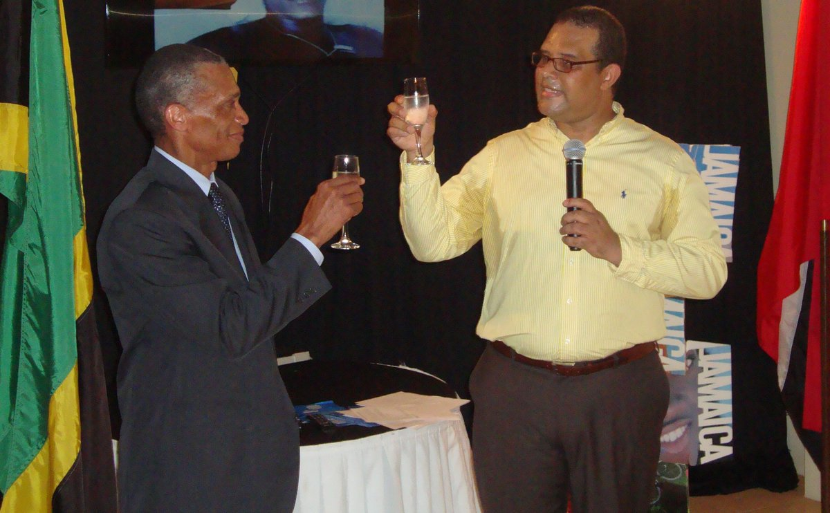 Sen. the Hon. Dennis Moses and H.E. David Prendergast toast at the reception on the occasion of the 54th Anniversary of Independence of Jamaica