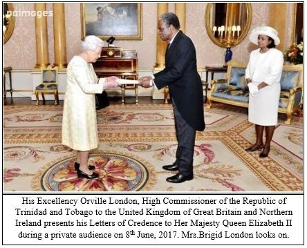 His Excellency Orville London presents credentials to Her Majesty Queen Elizabeth II