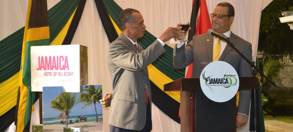 Senator the Honourable Dennis Moses, Minister of Foreign and CARICOM Affairs and H.E. David Prendergast, High Commissioner for Jamaica toast at the reception in commemoration of the 55th Anniversary of Independence of Jamaica on 4th August, 2017.