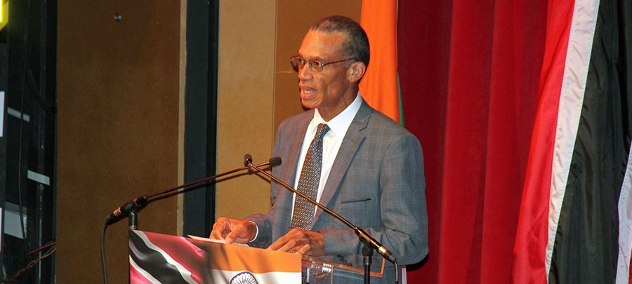 Senator the Honourable Dennis Moses, Minister of Foreign and CARICOM Affairs delivers a statement at the High Commission of India's Celebration of the Independence Day of the Republic of India
