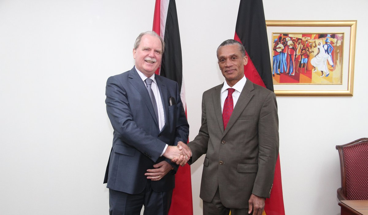 Senator the Honourable Dennis Moses, Minister of Foreign and CARICOM Affairs greets H.E. Holger Wilfried Michael, Ambassador-designate of the Federal Republic of Germany during a Courtesy Call on 15th September, 2017