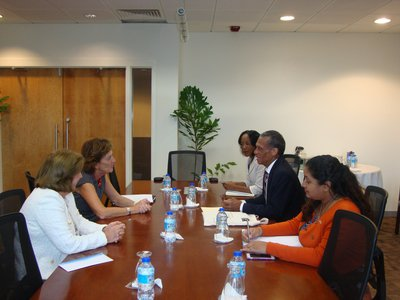 Senator the Honourable Dennis Moses, Minister of Foreign and CARICOM Affairs meets with Ambassador Maria Teresa Kralikas, Under-Secretary for the Malvinas, Antarctic and South Atlantic Division of the Ministry of Foreign Affairs and Worship of Argentina