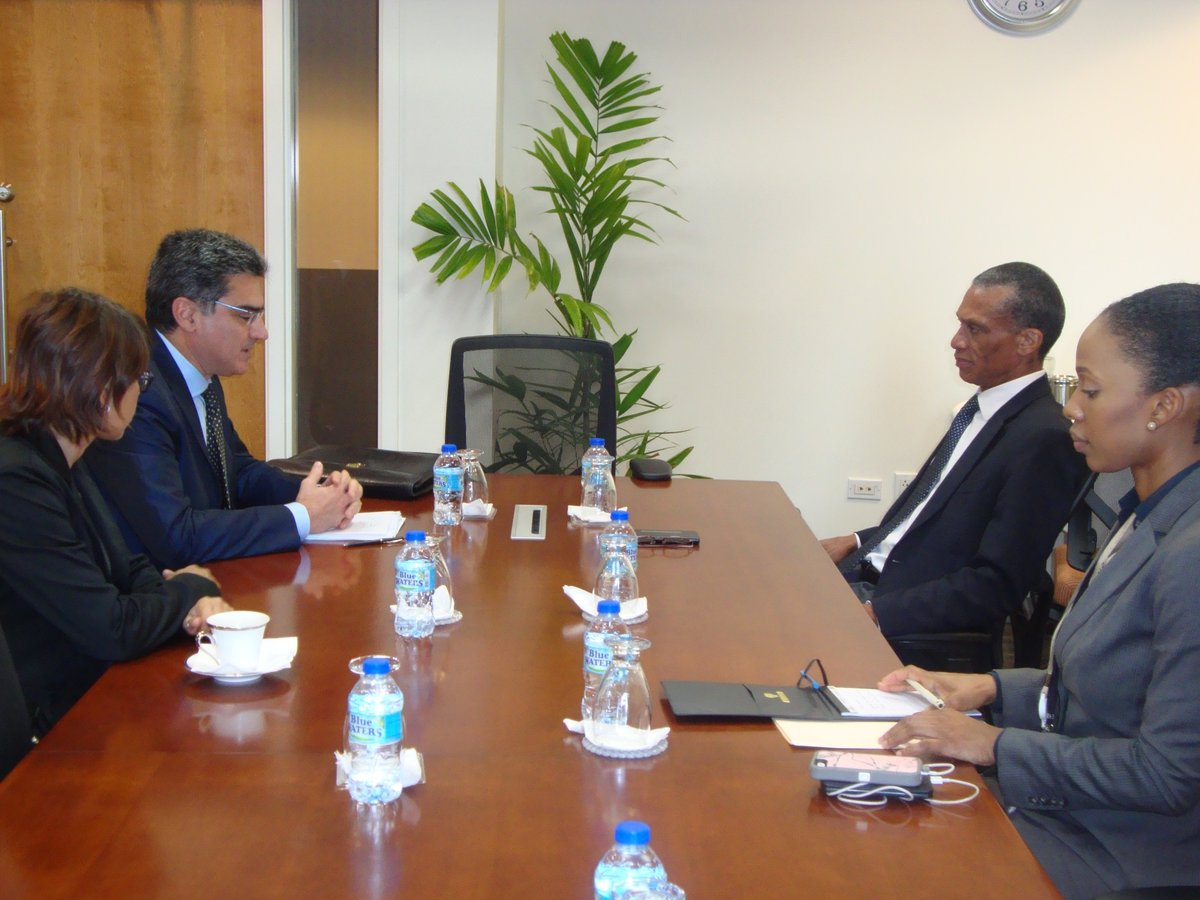 Senator the Honourable Dennis Moses, Minister of Foreign and CARICOM Affairs meets with His Excellency Paolo Serpi, Special Envoy for the Caribbean Countries, Ministry of Foreign Affairs and International Cooperation, Italy on Monday 8th May, 2017