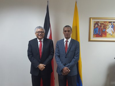 Senator the Honourable Dennis Moses, Minister of Foreign and CARICOM Affairs with His Excellency Dr. Alfonso Munera Cavadia, Ambassador-designate  of the Republic of Colombia during a Courtesy Call on 5th May, 2017