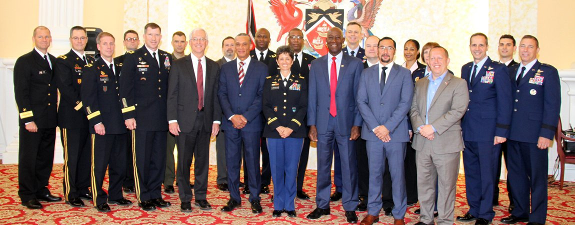 Dr. The Honourable Keith Rowley, Prime Minister of the Republic of Trinidad and Tobago received a courtesy call at the Diplomatic Center from a visiting high level delegation of US military leaders