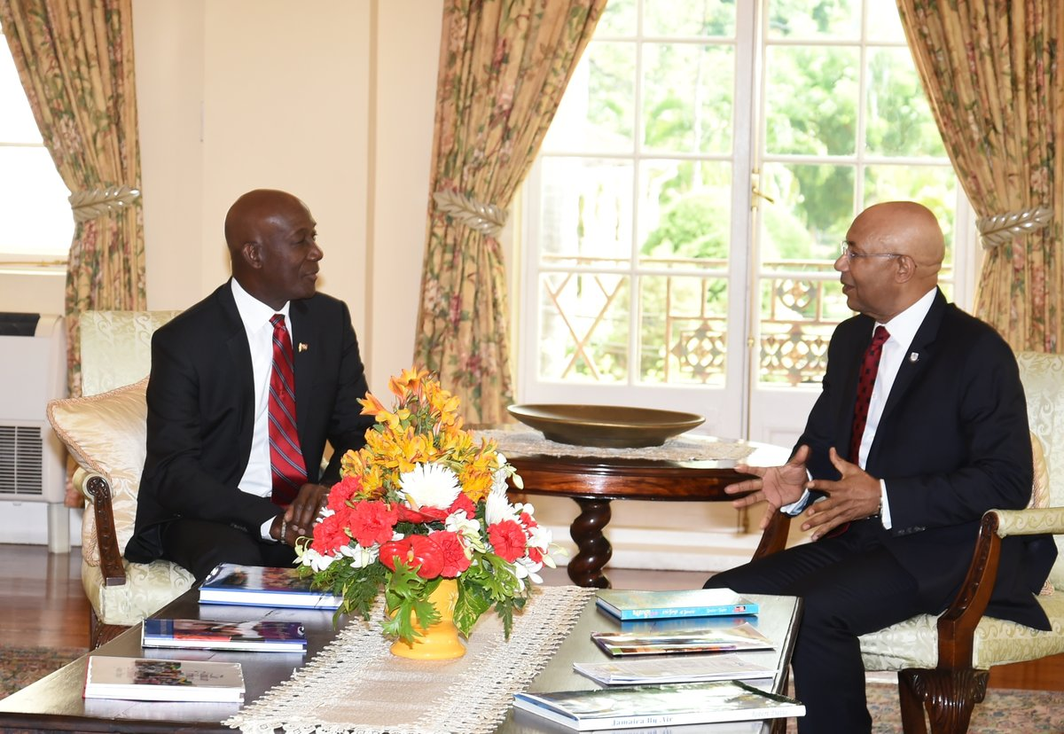 Prime Minister Dr. Keith Rowley and Jamaica's Governor General, His Excellency The Most Honourable Sir Patrick Allen