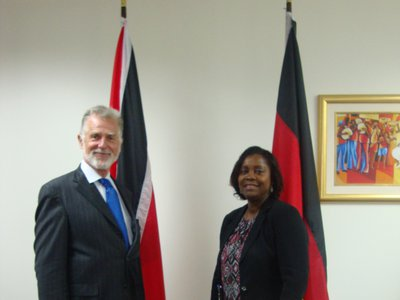 Mrs. Jennifer Daniel, Acting Permanent Secretary at the Ministry of Foreign and CARICOM Affairs met with His Excellency Dr. Lutz Gorgens, outgoing Ambassador of the Federal Republic of Germany during a Farewell Courtesy Call on 6th June, 2017