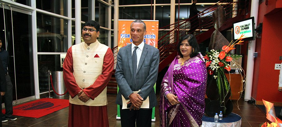 From L-R: H.E. Bishwadip Dey, High Commissioner for the Republic of India, Senator the Honourable Dennis Moses, Minister of Foreign and CARICOM Affairs and Mrs. Mayura Dey at the High Commission of India's Independence Day Celebration