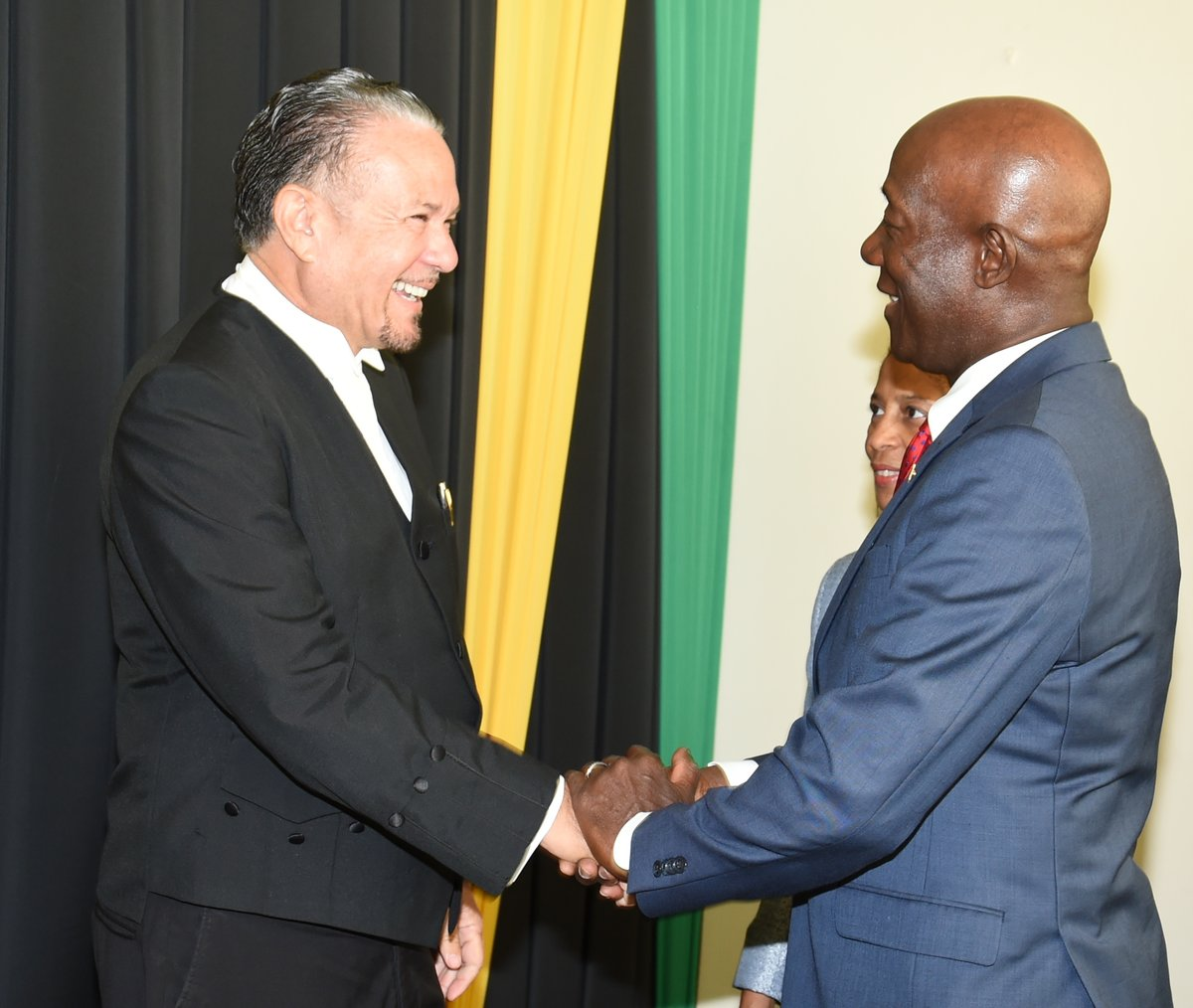 PM Dr Keith Rowley is greeted by Honourable Tom Tavares-Finson