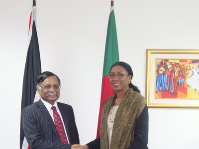 Ms. Reita Toussaint, Acting Deputy Permanent Secretary, Ministry of Foreign and CARICOM Affairs greets H.E. Mizanur Rahman, newly appointed High Commissioner for the People's Republic of Bangladesh to the Republic of Trinidad and Tobago.