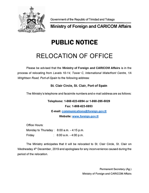 Relocation of Ministry