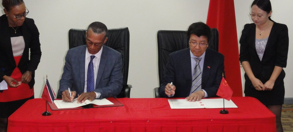 Signing Cermony for the Framework agreement  between TT and China for the Concessional loan for the acquisation of Multi purpose patrol vessel