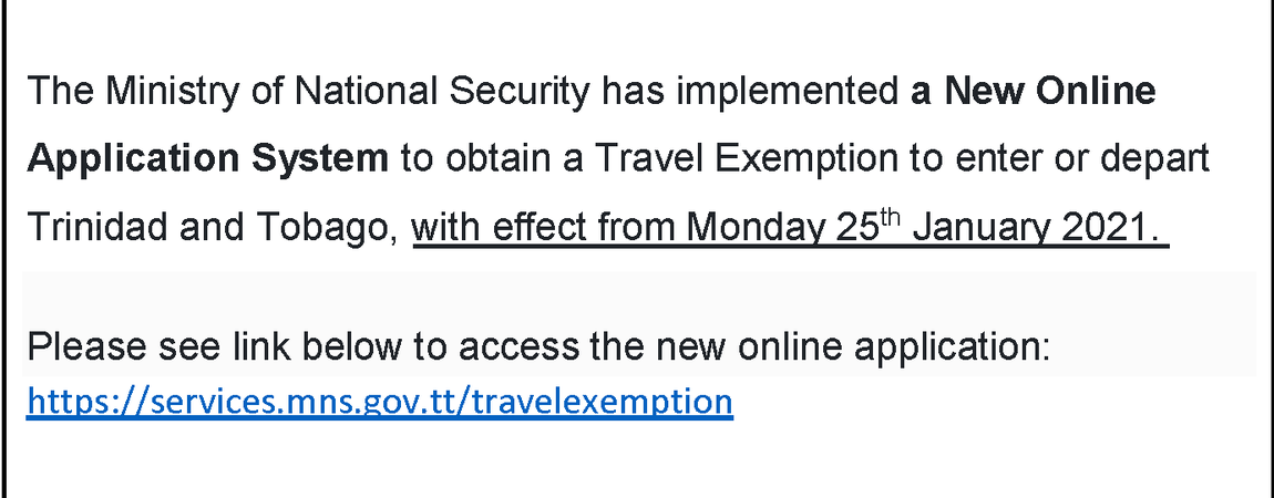 Travel Exemption Application
