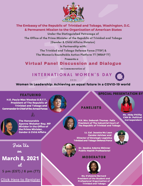 International Women's Day Panel Discussion and Dialogue flyer