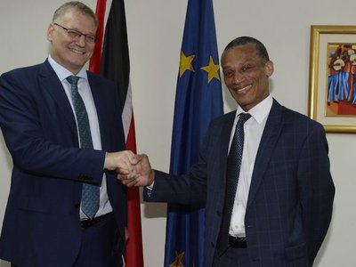 Minister Moses greets Amb. delegation of the EU